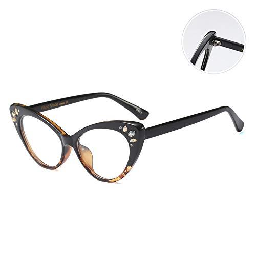 Frame Vrouwelijke Quality Fashion Cat Eye Leesbril Met Luxe Diamond Presbyopia Eyewear Reading Mirror,Leopard print,+ 1.00