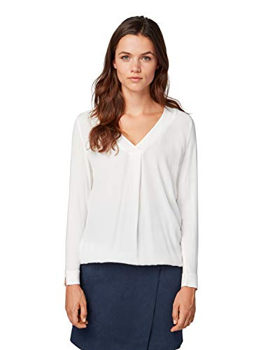 TOM TAILOR Damen Basic Langarmbluse Bluse, Elfenbein (Whisper White 10315), L