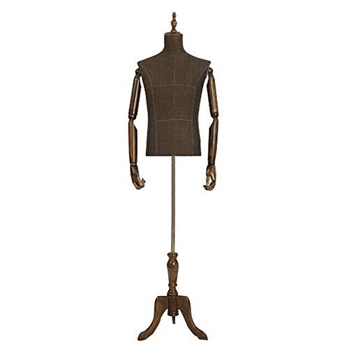 QYJH-Mannequin QYSH Herren Schaufensterpuppe Figur Büste mit massivem Holz Arm, Kleidung Schaufensterpuppe Requisiten halben Körper Fensterständer
