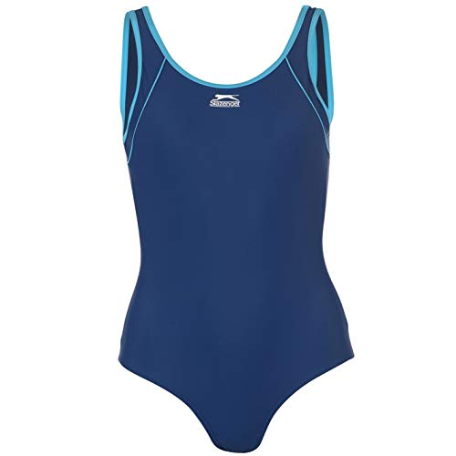 Slazenger Damen Basic Badeanzug Schwimmanzug Bademode Schwimmen Strand Blau 20 (XXXL)