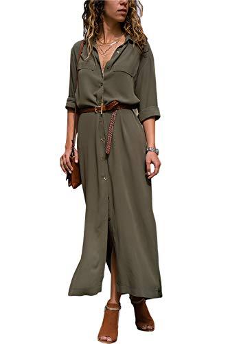 Happy Sailed Damen Langarm V-Ausschnitt Elegant Lang Blusenkleid Hemdkleid Shirt Kleid Oberteil Kleid Maxikleid mit Gürtel S-XL, Grün, Medium (EU40-EU42)