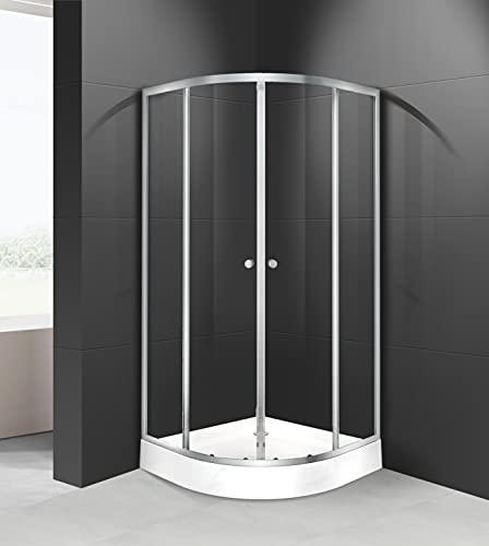 MARWELL Duschkabine Crystal Round Dusche Komplett-Set Radius 55 cm und 4 mm starkes Einscheiben-Sicherheitsglas, Glasdusche mit Aluminiumprofilen in Silber Seidenmatt