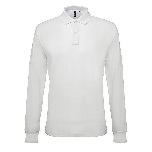 Asquith & Fox Men's Classic Fit Long Sleeved Polo, Blanc (White 000), Small Homme