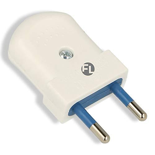 Eurostecker schraubbar für Steckdose 230v flach 2 polig euro Stecker für rund und Flachkabel (1 Stück, weiß)