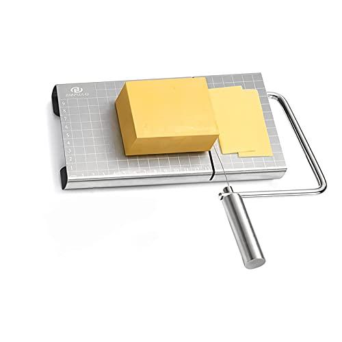 Käseschneider Edelstahl, Cheese Slicer Käseschneider mit genauer Größenskala, Draht-Käseschneider für Käsebutter, mit 4 austauschbaren Käseschneider-Drähten und Platte für halbharte Käsebutter