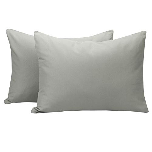 NTBAY Microfiber Toddler Pillowcases, 2 Pcs Zipper Closure Travel Pillow Covers, 13 x 18, Smoke Grey