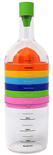 com-four® praktischer 8 in 1 Küchenhelfer, multifunktionales Küchenwerkzeug in Flaschen-Form