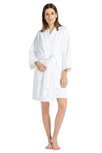 Fishers Finery Women's Waffle Kimono Resort Spa Robe; Above Knee Length (S) White