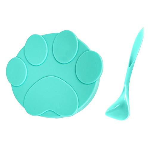 NIDONE Alimentos para Mascotas Pueden Cubrir de Silicona Gato Tapas para latas de Comida para Mascotas Perro Mascota con 1 Cuchara Verde