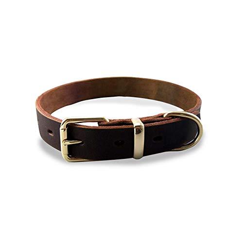 ZZZBF Hundehalsband - Doppelter D-Ring-Design Die Schnalle Aus Lederlegierung Der Ersten Schicht Verstellbar Für Kleine, Mittelgroße Welpenhunde Xs/Einzelner D-Wort-Ring