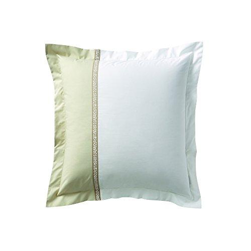 Essix - Taie d'oreiller Toi & Moi Traverse Percale de Coton Blanc/Sésame 65 x 65 cm