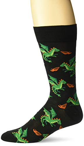 Hot Sox Herren-Socken für Gesprächsstarter, leger Gr. L, Drache (Schwarz)