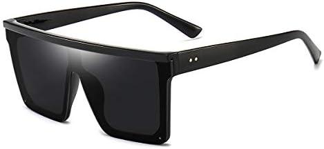 Square Oversized Sunglasses for Women Men Fashion Flat Top Big Black Frame Shades Dollger Black product image