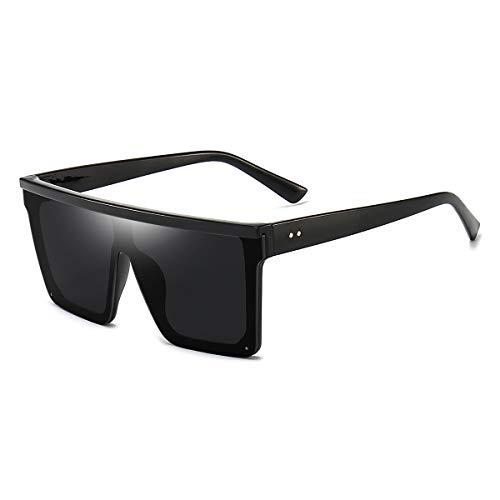 Square Oversized Sunglasses for Women Men Trendy Fashion Flat Top Big Black Frame Shades Dollger Black