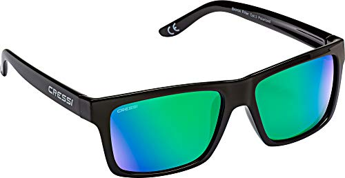 Cressi Bahia Sunglasses Gafas De Sol Deportivo, Unisex adulto, Negro/Verde Lentes espejados
