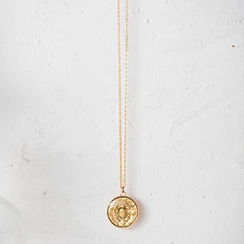 QiuYueShangMao Halskette Ornamente, Schmuck, Damen Halskette, Münze Anhänger Halsketten, Schlüsselbein Kette, europäische und amerikanische Stil Mode einfache Halskette Freundschaftshalskette