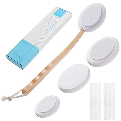 Creamify Eincremehilfe für Rücken Massagebürste Rückenbürste mit 4 Austauschbaren Pads, Rückenbürste mit Langem Stiel Körperbürste mit Wasserdichter Streifen, Rückeneincremer Badebürste