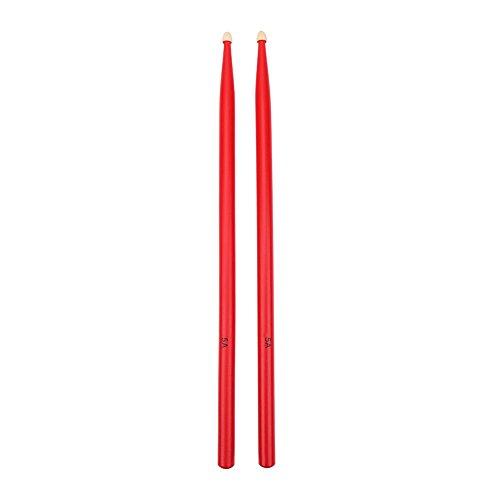 Dilwe - Bacchette per tamburo 5A, in legno d'acero, per strumenti musicali a percussione., Dilwe4zo2mckayr-01, Rot
