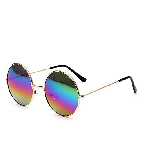 JINZUN Gafas de Sol Retro Gafas de Sol Redondas de Metal de Moda Gafas de Sol de Tendencia Protección UV