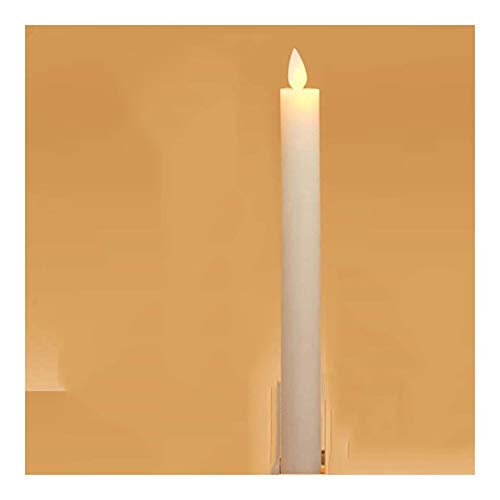 ZCDZJXB 1 Pieces Yellow Light Moving Wick Taper Bougie Led With Remote And Time,Dancing Bougeoir Et Photophore,don't Include Holder Flameless candles (Color : White without remote)