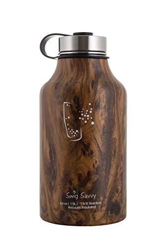 Swig Savvy, thermos in acciaio inox isolato per acqua e birra, thermos riutilizzabile senza BPA, doppia parete sottovuoto per bevande calde e fredde (64oz), DW-STL-WB-64OZ-MAIN, Legno da 64oz