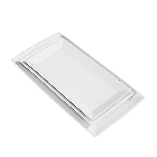 AmazonCommercial - Juego de vajilla de 3 piezas, plato para entrantes, plato llano y plato de postre de porcelana