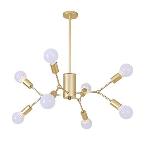 Restaurant kroonluchter lamp slaapkamer woonkamer tak plafondlamp satijn creatieve industriële hanglamp ijzeren frame design goud 8 vlammen E27 diameter 68 cm
