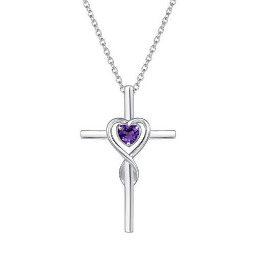 Collier Croix Femme Argent 925/1000 Chretienne Religieux Infini Coeur Pendentif avec Améthyste Naturelle - Chaîne Ajustable: 40 + 5 cm