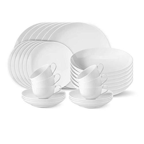 KPM Berlin Urbino Dinner-Set 30-TLG. Porzellan Tafel-Service - Teller-Set - Porzellan-Set - Handmade & als Geschenk verpackt - Weiß