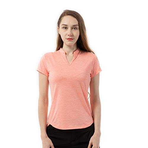 Women's Tennis Shirts Dry Fit V Neck Golf Polo T Shirts Short Sleeve Tops Orange M