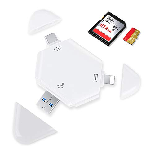 SD Card Reader Micro SD,TF Card Reader for iPhone iPad, Memory Card Reader, USB 3.0 SD Card Reader, USB C SD Card Reader Trail Game Camera Memory Card Viewer with IOS USB C USB Port, No App Required