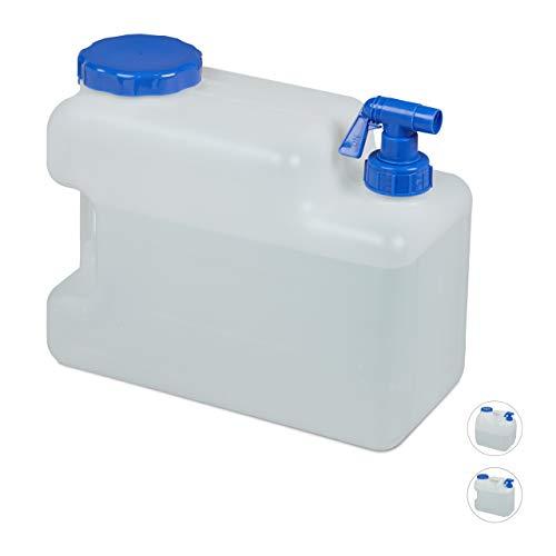 Relaxdays Wasserkanister mit Hahn, Weithals Schraubdeckel, Trinkwasserkanister Camping, 12L, Kunststoff, BPA-frei, weiß
