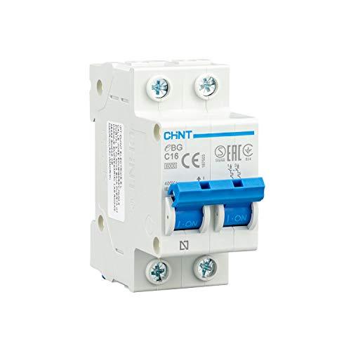 CHINT Interruptor Automatico Magnetotermico Gama Domestica Curva C (2 Polos, 16A)