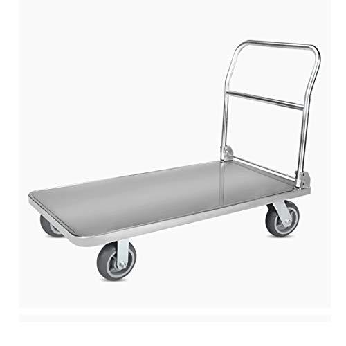BKWJ Shopping Trolley Shopping Cart,Folding 304 Stainless Steel Flat Car, Trolley, Portable Push Truck, Four-wheel Trolley, Light Trolley,Maximum Load 400KG