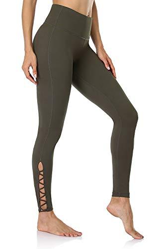 Anwell Yoga Pants Damen Blickdicht lang High Waist Sportleggings hohe Taille Leggings Bauchweg Leggings Slim Leggings Sport Grün M