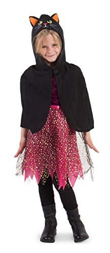Folat 23805 cape poncho zwarte kat kinderen, unisex, multicolor