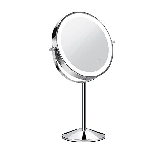TOGETOP LED Schminkspiegel beleuchteter Kosmetikspiegel mit 5X / 1X Vergrößerung, Wiederaufladbarer Makeup Spiegel Tischspiegel