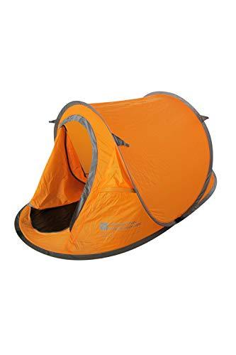 Mountain Warehouse Pop-Up Tent - Groundsheet, 2 Man Single Skin Camping Tent, Water Resistant Orange