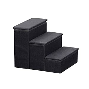 Etna 3-Step Pet Steps with Storage Fold Away Pet Stairs for Dogs Cats Fabric Upholstered Padded Tops – Black