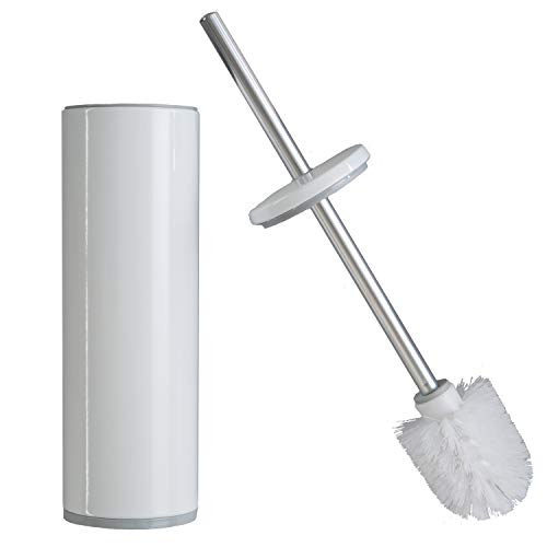 Bath Bliss Deluxe Stainless Steel Toilet Brush and Holder with Removeable Liner, Durable & Strong Bristles, Long Lasting, Decorative Canister, White