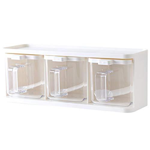 3 Gitter Gewürz-Kartei,vorratsdosen set Küche transparent Acryl Würze Box, Küchenzubehör Aufbewahrungskoffer Flasche