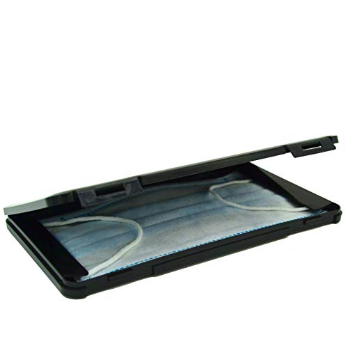 Maskenbox, Aufbewahrungsbehälter, Transportbox für Maske, aus Kunststoff, schwarz