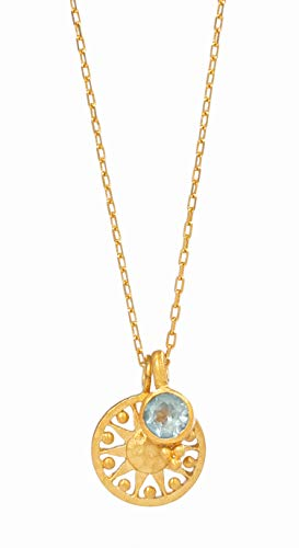 Satya Jewelry Radiate Love Sun Necklace - Kette Damen Runder Anhänger Sonnen Emblem und Blauer Topas - NG66-09-L18Ag