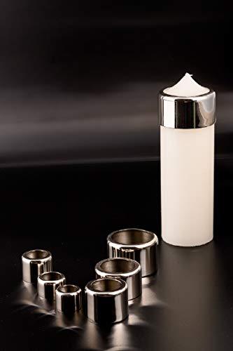 Kerzenring für Tropfschutz und Brennregeln Silber, für Kerzen Ø 3 cm Messing vernickelt, Silber