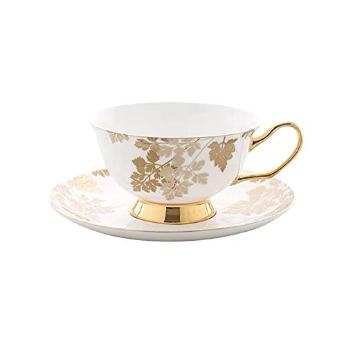 SXXYTCWL Hueso China Taza de café, Taza y platillo de té de Oro Creativo de la cafetería, Taza de café con Cuchara, Regalo de la Oficina del Restaurante del hogar de 240ml