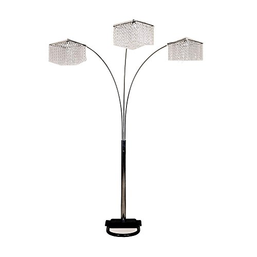 "Ore International 6932 3 Light Crystal Inspirational Arch Floor Lamp, 97"" x 17.5"" x 19"", Silver"