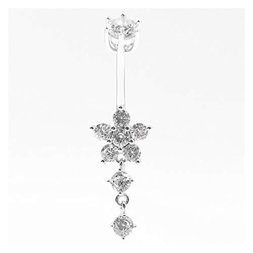 QHKS 925 Piercing de Plata esterlina Piercing Flower Flor Anillo de Ombligo Perforación del Cuerpo Joyería (Metal Color : Bar Length 10mm)