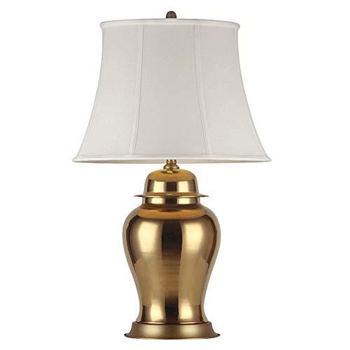 Yjdr Dormitorio de 27 pulgadas Lámpara de noche Golden General Jar Sala de estar Americana Lámpara de mesa grande Luz de lujo Personalidad Creativa Lámpara de mesa de cerámica, fuente de luz de interf