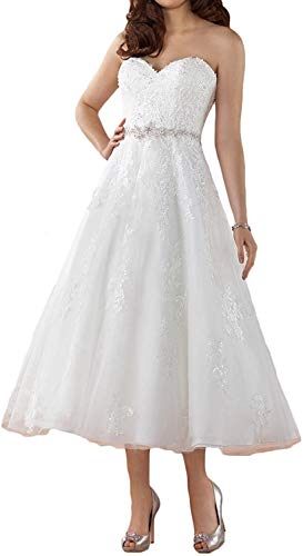 Meganbridal Short Wedding Dress for Women Bride Sweetheart Bridal Ball Gowns Appliqued Tea Length Lace Tulle White