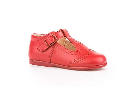 . Zapatos Merceditas-pepitos Unisex niños de Piel Fabricados en España. Disponible Desde la Talla 18 hasta la Talla 27 - Mi Pequeña Modelo 507v Color Beige,Camel,Marino,Blanco,Celeste y Rojo.